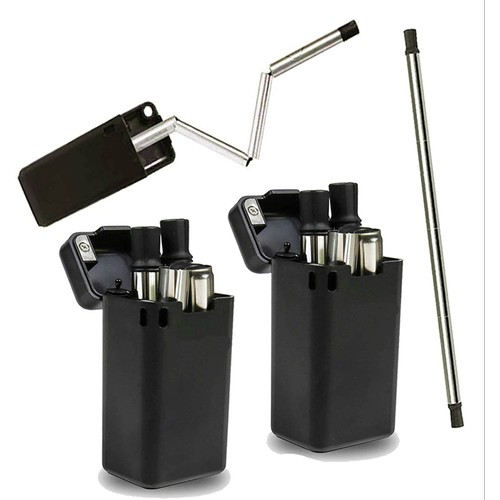 2-Pack Collapsible Reusable Stainless Steel Drinking Straw with Case