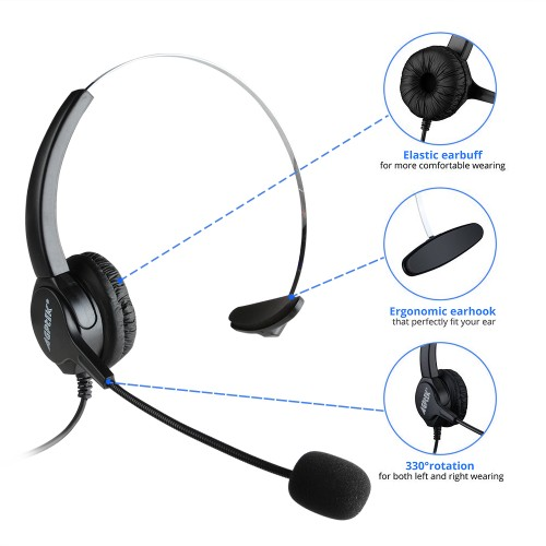 Hands-free Call Center Noise Cancelling Corded c