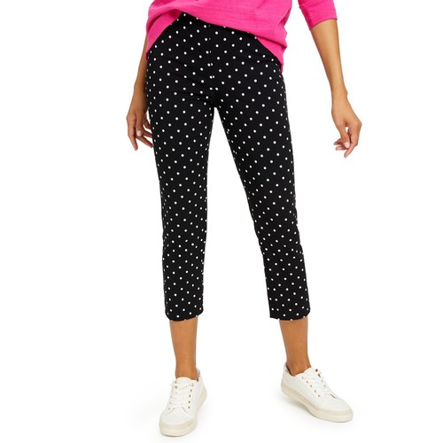 Charter Club Women's Capri Tummy-Control Skinny Pants Black Size 10