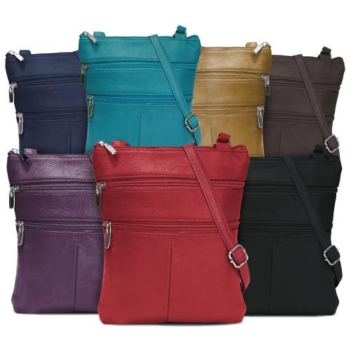 A Soft Genuine Leather Multi-Pocket Crossbody Bag