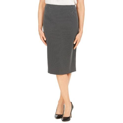 Kasper Women's Pin-Dot Pencil Skirt Black Size 4