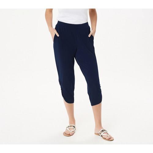 Susan Graver Regular Liquid Knit Crop Pants with Ruching Detail, Large,