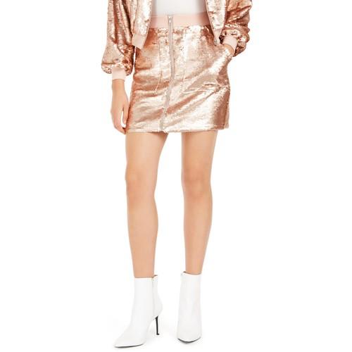 Bar III Women's Sequin Utility Skirt Yellow Size Small