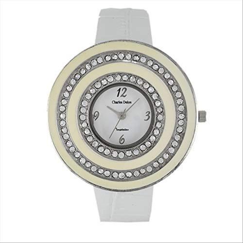 Charles Delon Women's Watches 5165 LPWW White/Silver/Beige Leather Quartz Round