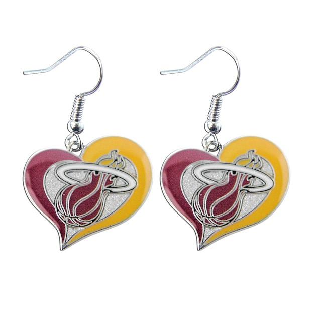 "NBA Miami Heat 3/4"" Swirl Heart Shape Dangle Logo Earring Set   Gift"