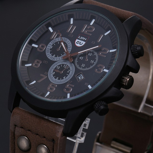 Men's Waterproof Date Leather Strap Sport Quartz Army Watch