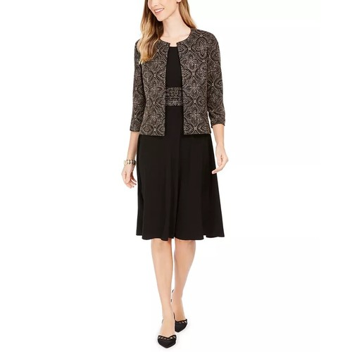 Jessica Howard Women's Printed Jacket & Dress Set Black Size 4 Petite