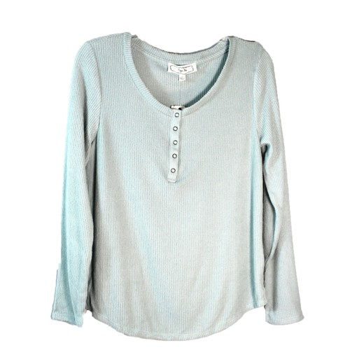 Hippie Rose Juniors' Rib-Knit Henley Top Aqua Size Medium