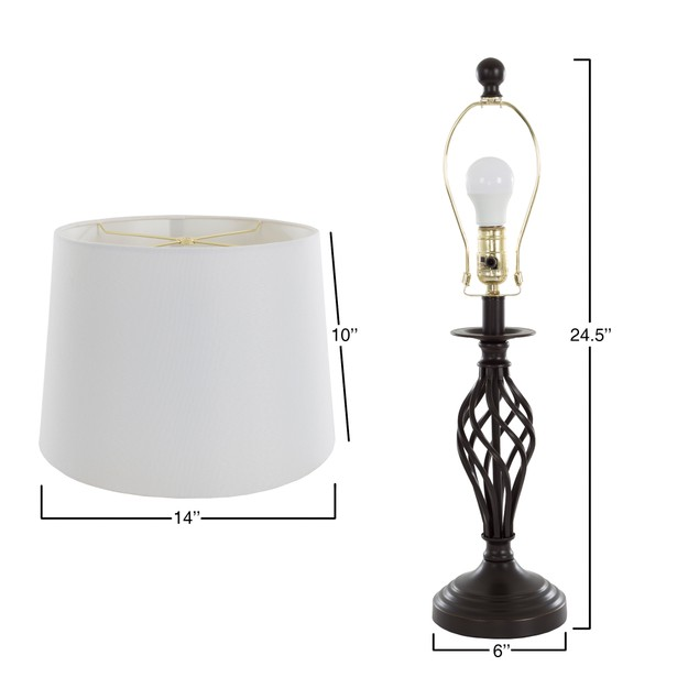 2 Piece Table Lamps Black Spiral by Lavish Home