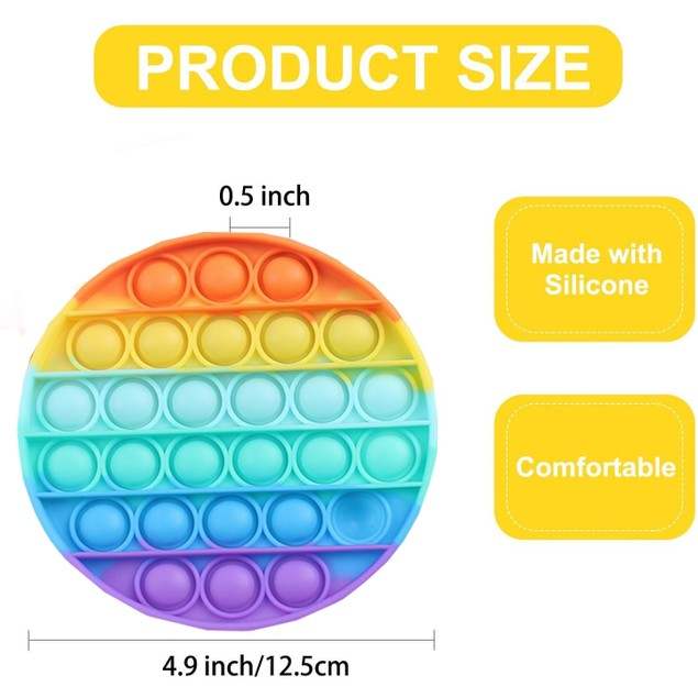 2-Pack Doingart Push & Pop It Fidget Toy with Bubble Popping Silicone Sensory Toy for Kids & Adults (Rainbow Colors)