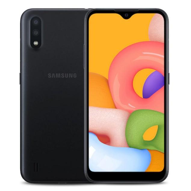 Samsung Galaxy A01, Metro, Black, 16 GB, 5.7 in Screen
