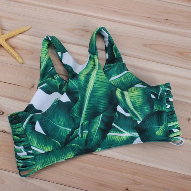 Women's Bikini Set Sexy Leaves Straps Swimsuit Push-up Swimwear