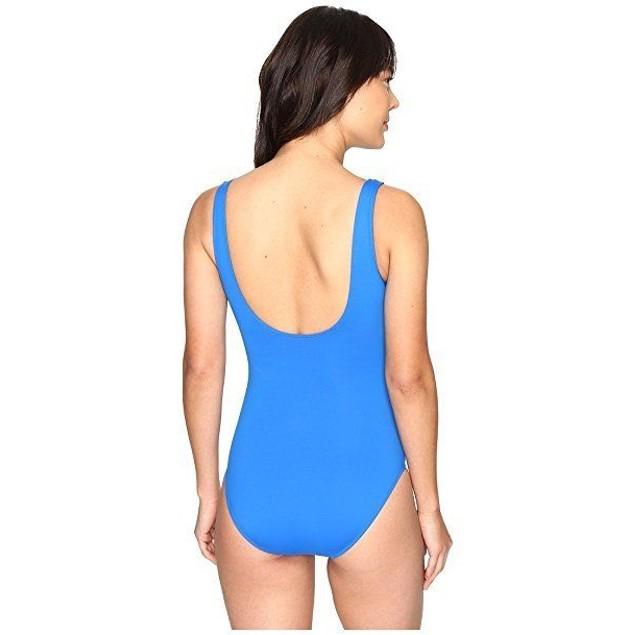 LAUREN Ralph Lauren Women's Beach Club Ruffle Mio One-Piece Blue sz 4