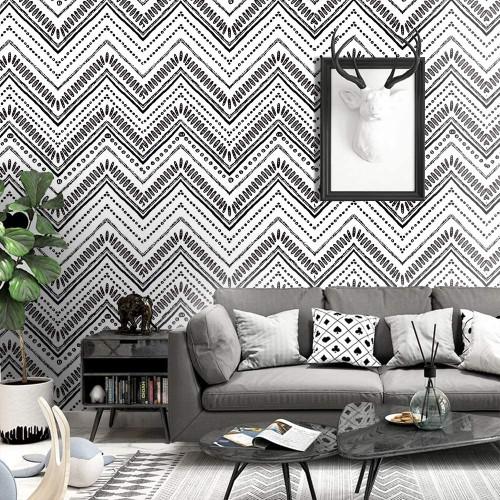 Wood Geometric Oval Stripe Peel and Stick Wallpaper Shiplap 17.7''x19.7ft