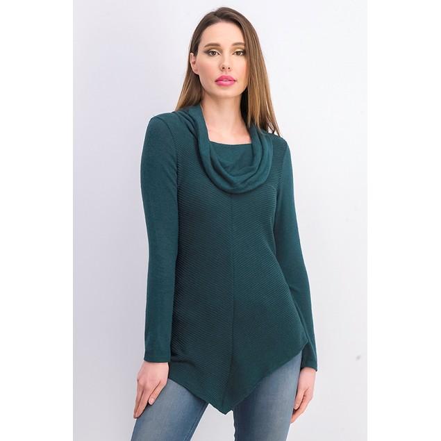 BCX Women's Textured Cowlneck V-Hem Sweater Green Size Medium