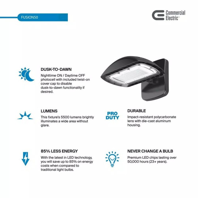 Commercial Electric 350-Watt Equivalent Integrated LED Flood Light, 5500