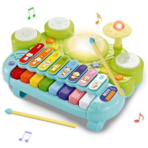 Costway 3 in 1 Musical Instruments Electronic Piano Xylophone Drum Set Lear