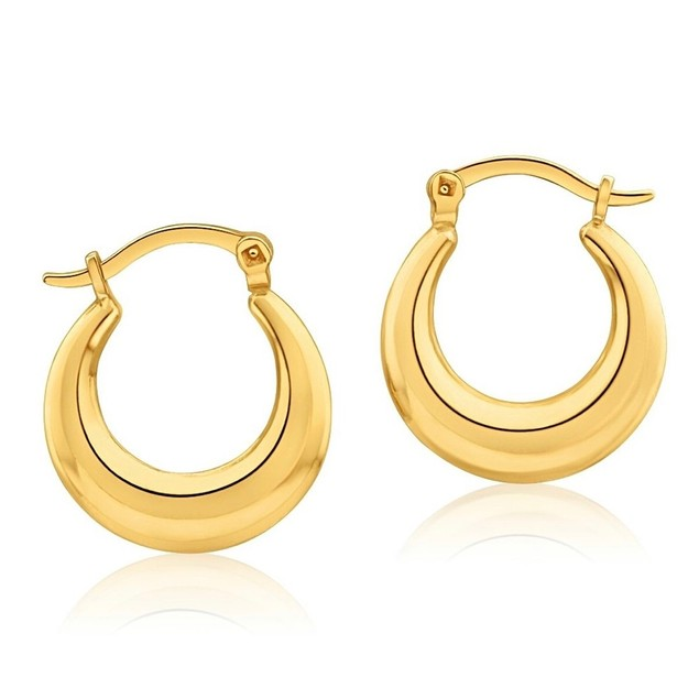 18K Gold Graduated French Lock Hoop Earrings - 3 Colors