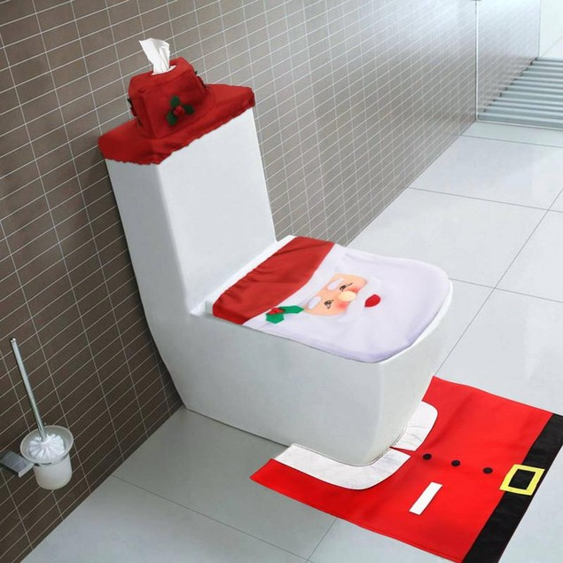 Santa Toilet Cover & Rug Set - 3 piece set