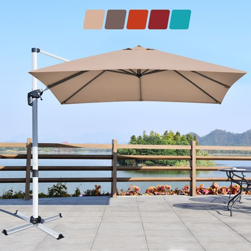 10Ft Square Aluminum Cantilever Patio Umbrella 360 Degree Tilt