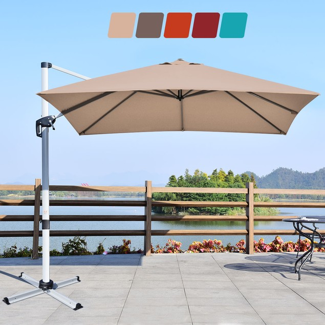 10Ft Square Aluminum Cantilever Patio Umbrella 360 Degree Tilt