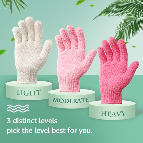 3 Pairs Evridwear Exfoliating Gloves for Bath- 4 Colors