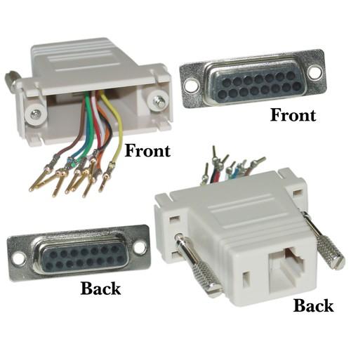 Modular Adapter, Gray, DB15 Female to RJ45 Female