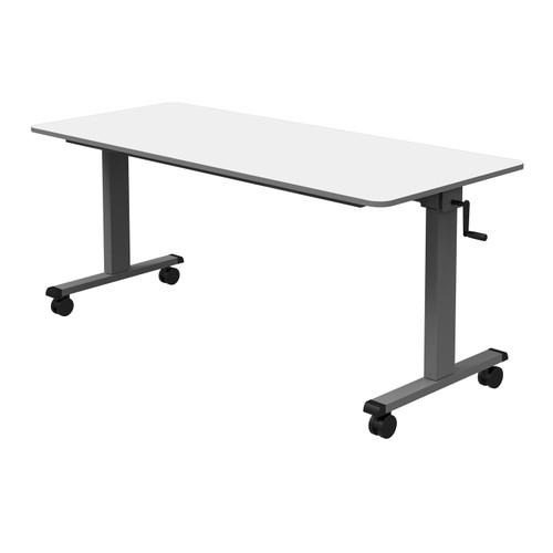 """Luxor 60"""" Adjustable Flip Top Table with Crank Handle - White"""