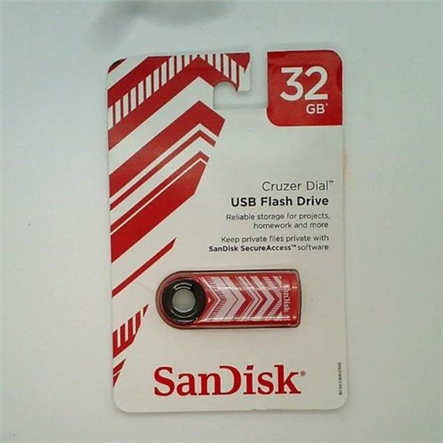 Sandisk Cruzer Dial  Chevron Design 32GB USB Flash Drive, Red and White