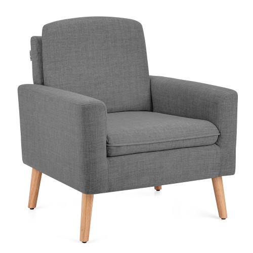 Costway Modern Accent Arm Chair Upholstered Fabric Single Sofa w/Rubber Woo