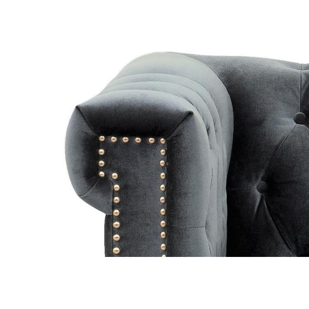 Chic Home Carlos Velvet Button Tufted Goldtone Metal Y-leg Club Chair