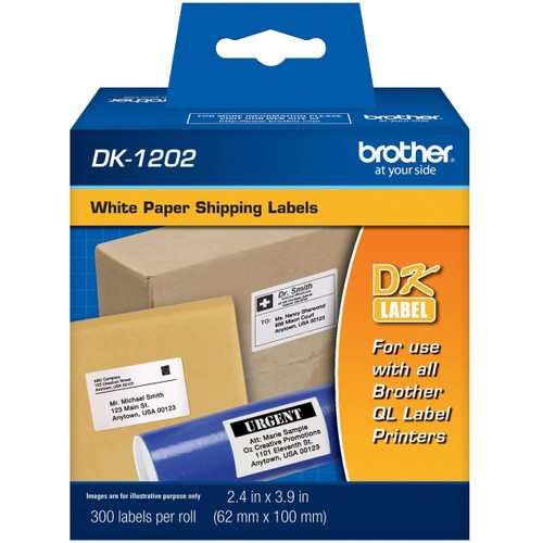 Brothers Brother DK1202 Standard Shipping Labels, 300 Labels Per Roll for Brother QL-700, QL700 Label Printer