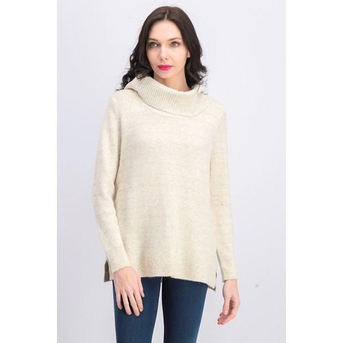 Style & Co Women's Lurex Cowl-Neck Sweater Light Beige Size Large