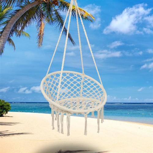 Round Tassel Cotton Rope Hanging Chair Beige