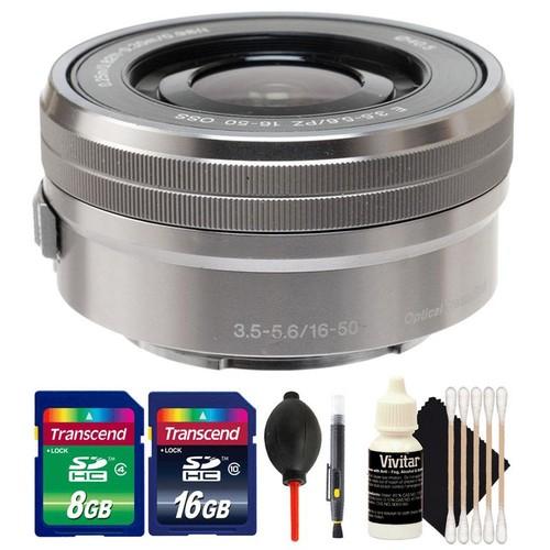 Sony E PZ 16-50mm f/3.5-5.6 OSS Silver Lens + 24GB Memory Card + Lens Pen + Dust Blower + 3pc Cleaning Kit