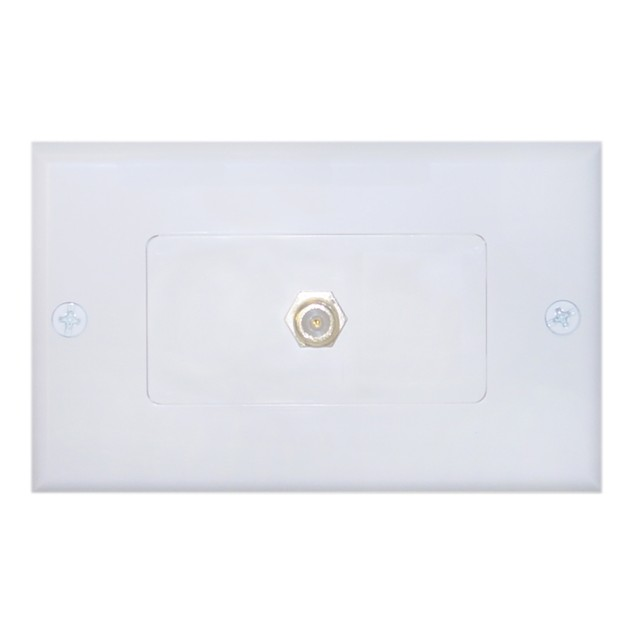 White Decora Wall Plate with F-pin Coupler, F-pin Female
