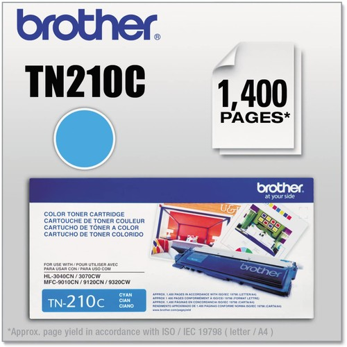 Brothers Brother TN210C Original Toner Cartridge, Cyan - in Retail Packaging