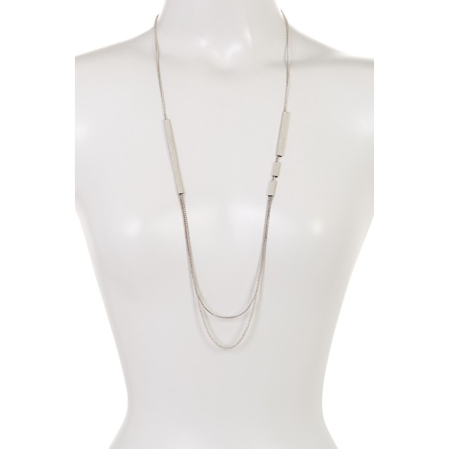 Multi Layer Silver Bar Necklace
