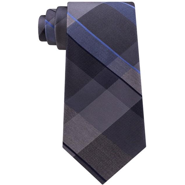 Kenneth Cole Reaction Men's Track Plaid Silk Tie Med Beige Size Regular