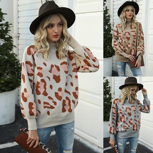 Women's Lantern Sleeve Leopard Sweater