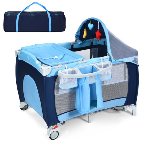 Costway Foldable Baby Crib Playpen Travel Infant Bassinet Bed Mosquito Net