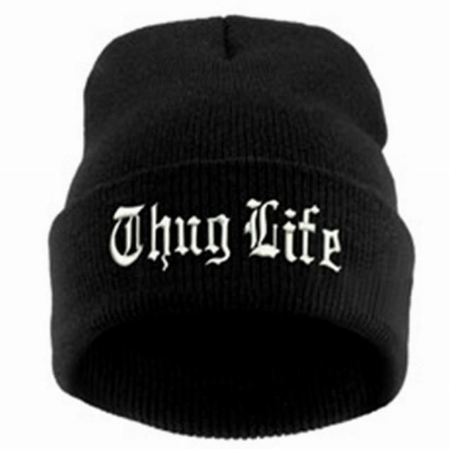Thug Life Knit Black Beanie Hat