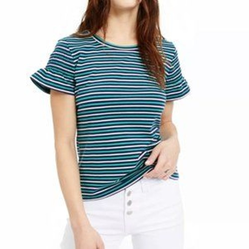 Maison Jules Women's Striped Smocked-Sleeve Knit Top Green Size Extra Large
