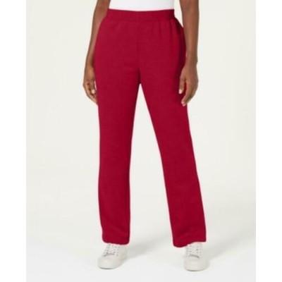 Karen Scott Women's Petite Classic Fleece Elastic Waist Pants Red Size 44