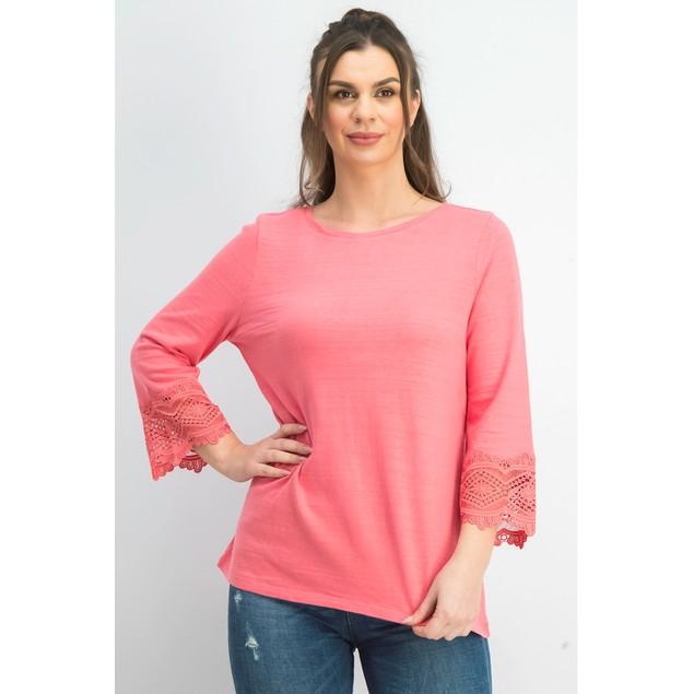Charter Club Women's Cotton Lace-Trim Top Dark Pink Size XX Large