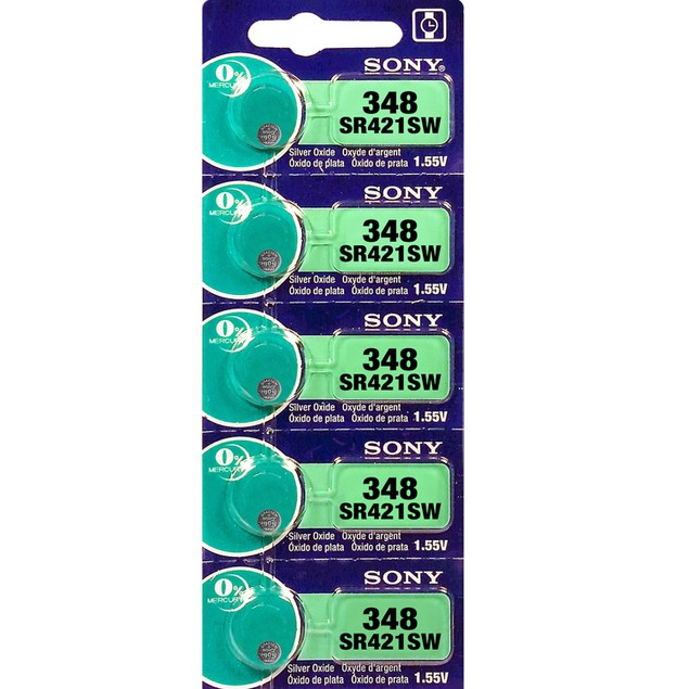 Sony 348 (SR421SW) 1.55-Volt Silver Oxide Watch Batteries (5 Pack)