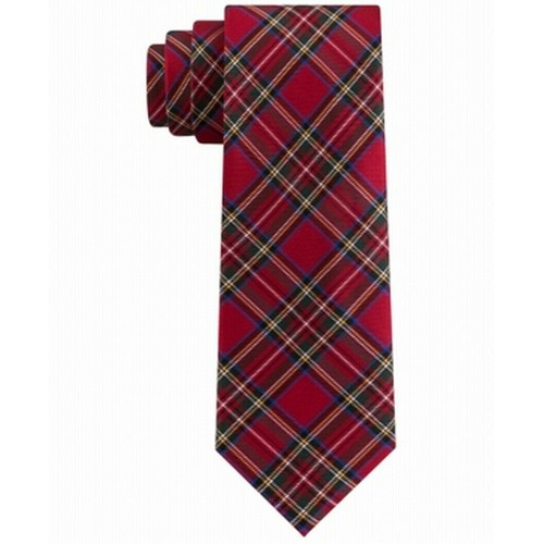 Tommy Hilfiger Men's Assorted Holiday Plaid Slim Ties Red Size Regular