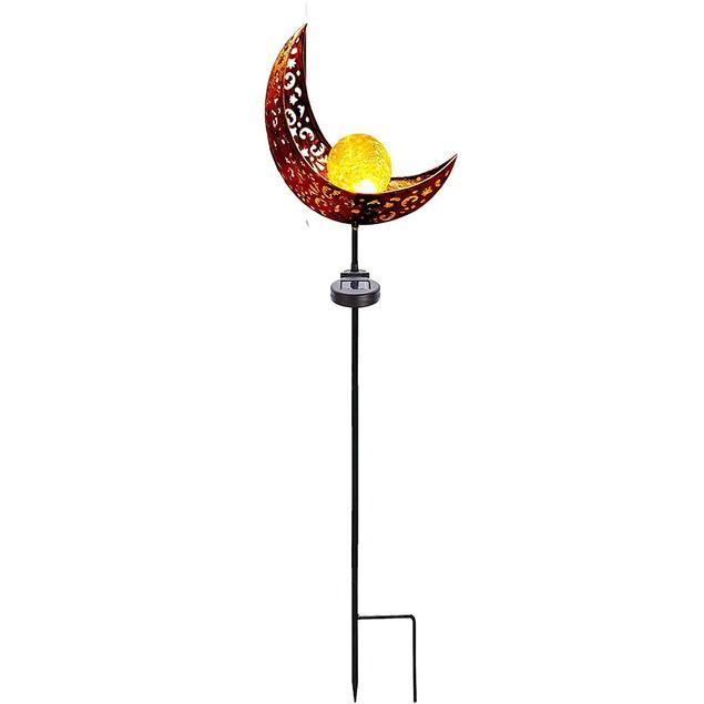 2-Pack Moon Crackle Globe Glass Solar Garden Lights