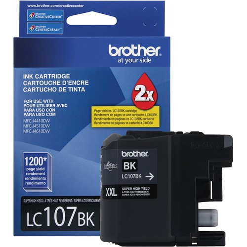 Brothers Brother Printer LC107BK Super High Yield Cartridge Ink, Black