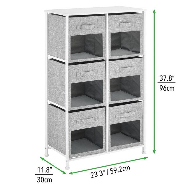 mDesign Vertical Furniture Storage Tower with 6 Fabric Drawer Bins